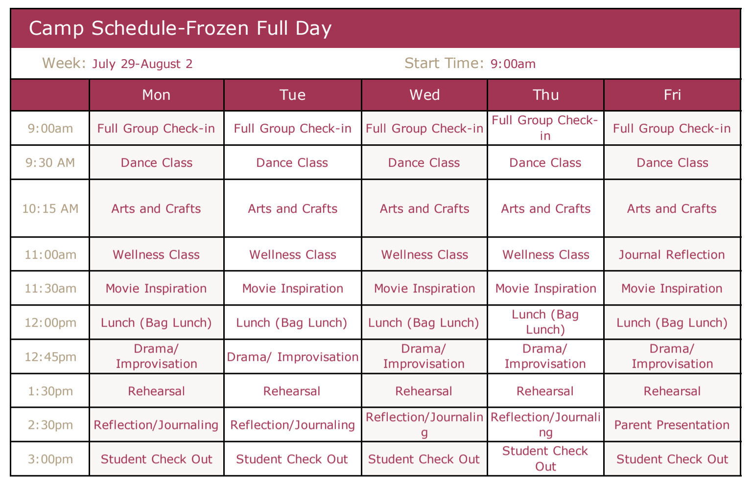 Frozen Full Day Schedule